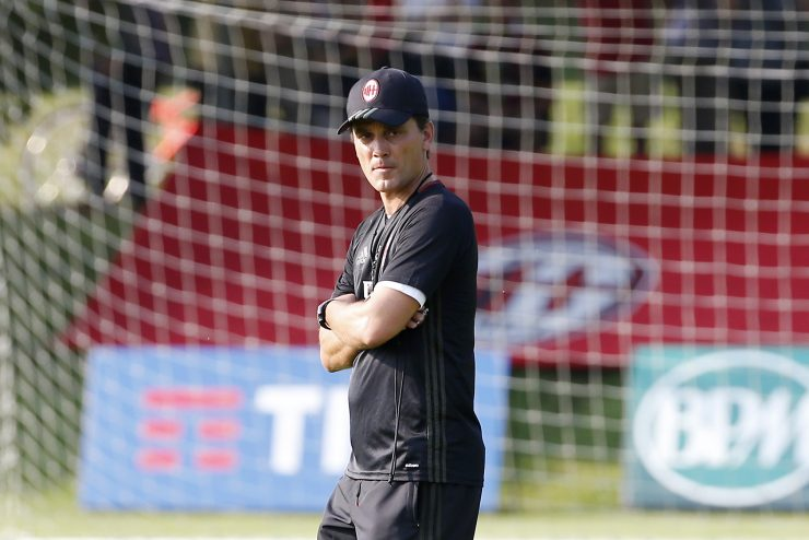 AC Milan coach Vincenzo Montella attends a training session at the Milanello training center in Carnago, Italy, Thursday, July 7, 2016. (AP Photo/Antonio Calanni)